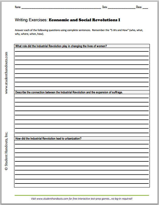 Economic and Social Revolutions Essay Questions - Free printable writing exercises worksheets (PDF files) for high school World History students.