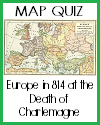DBQ Map Quiz of Europe in 814 at the Death of Charlemagne