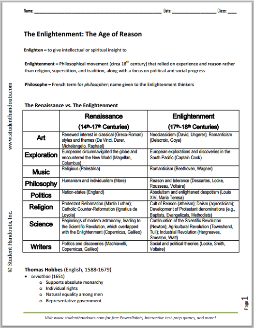 European Enlightenment Printable Outline - Free to print (PDF file).