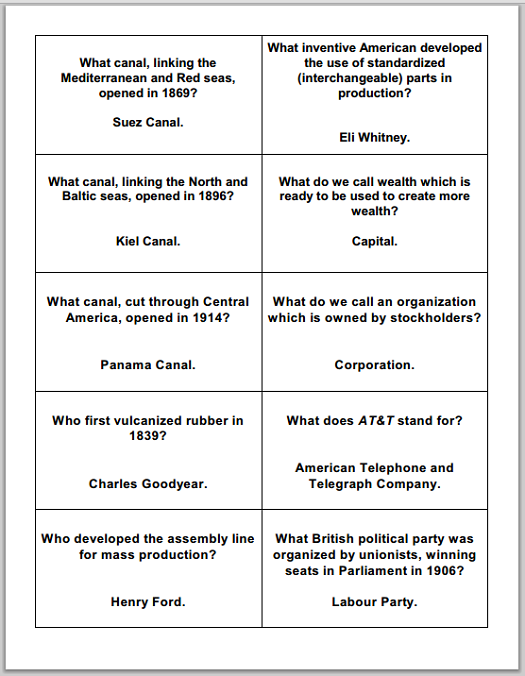 Industrial Revolution Study Game Cards - Free to print (PDF files).