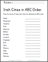 Irish Cities in ABC Order Worksheet