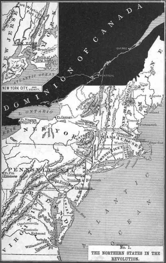 Map of the Northern Colonies in the American Revolution
