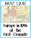 DBQ Map Quiz of Europe at the Time of the First Crusade in 1096