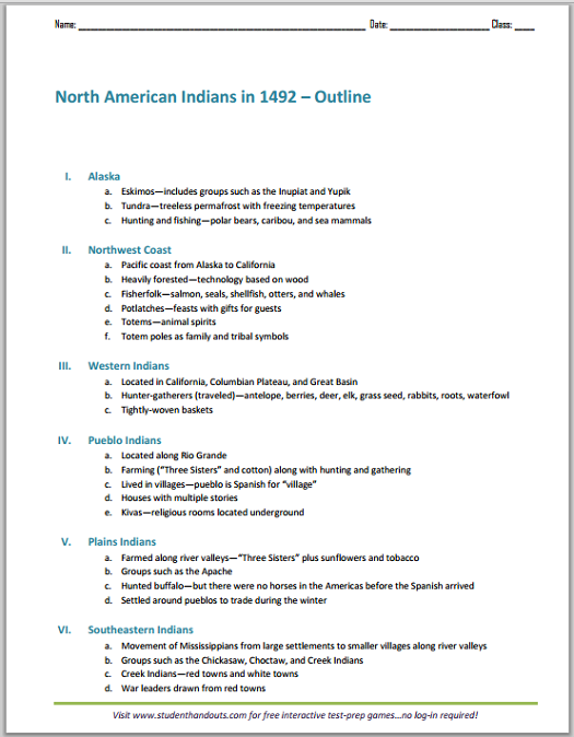 Native North American Indians, 1492 - Free Printable History Outline (PDF File)