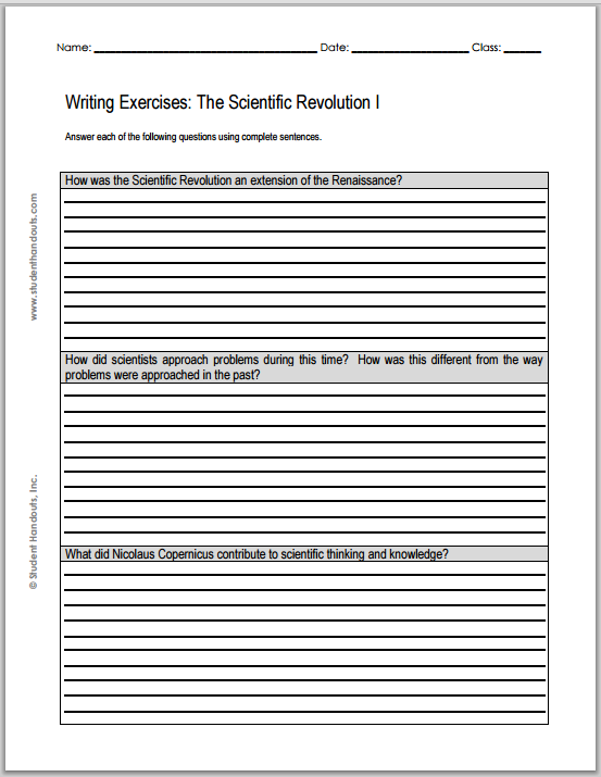 Scientific Revolution Essay Questions - Worksheets are free to print (PDF files) for high school World History students.