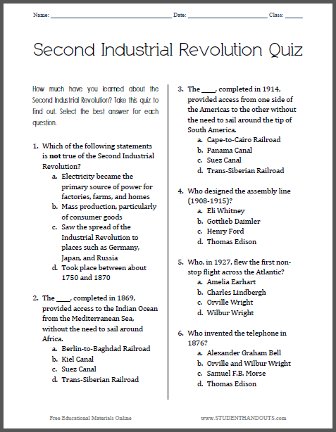 Second Industrial Revolution Printable Pop Quiz - Free to print (PDF file) for high school World History students.