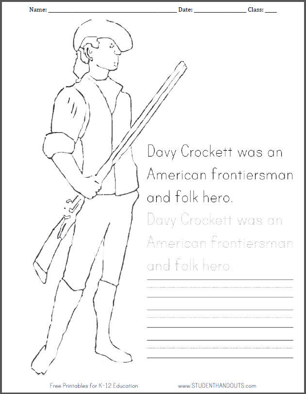 Davy Crockett Coloring Page with Handwriting Practice - Free to print (PDF file).