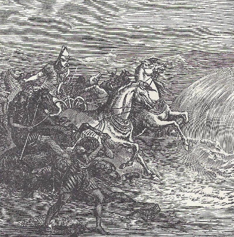 The destruction of the pharaoh's army at the Red Sea.