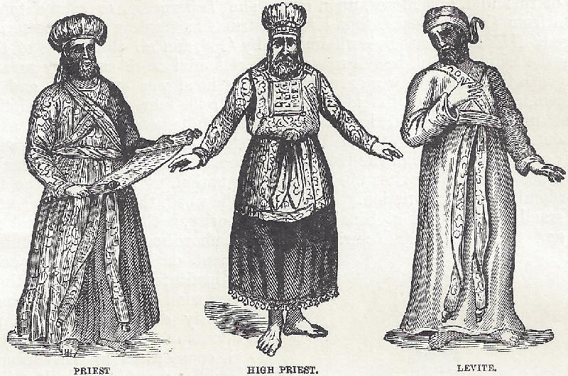A priest, high priest, and Levite of the Israelite Tabernacle at Sinai.