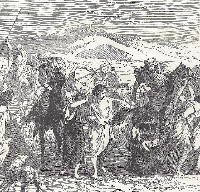 The capture of Lot and his family in Genesis.