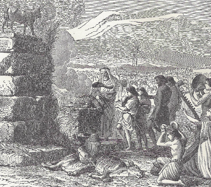 Aaron is coerced into making a sacrifice to a molten calf at the foot of Mount Sinai.