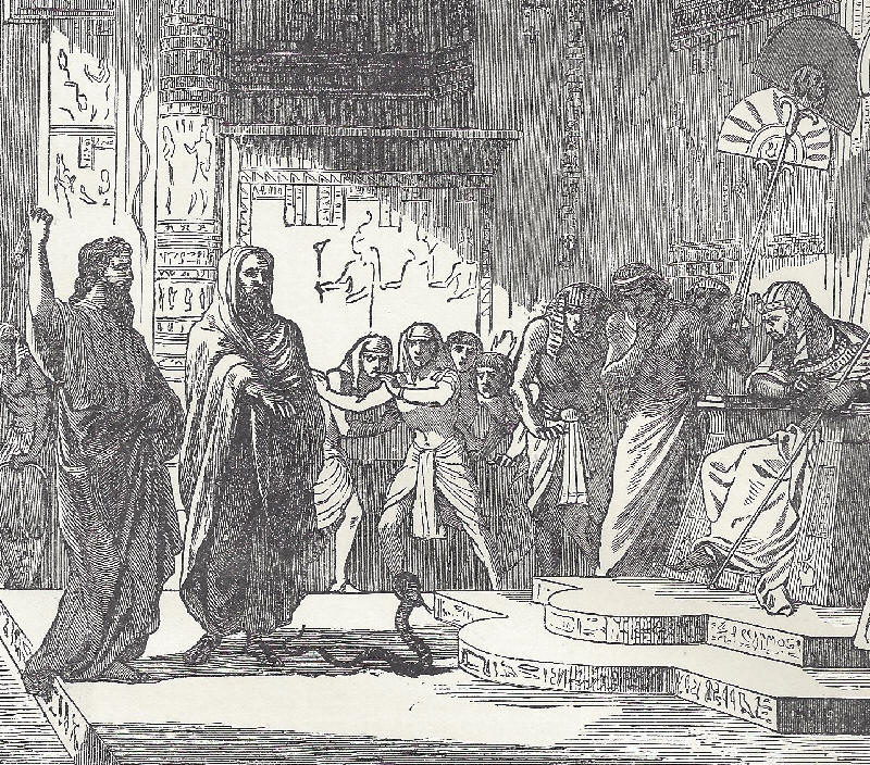 Moses turns a staff into a serpent in front of the Egyptian pharaoh.