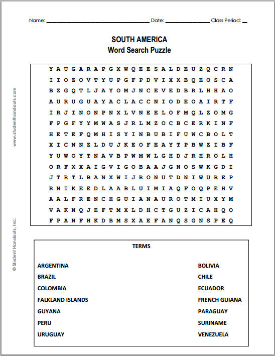 South America Word Search Puzzle - Worksheet is free to print (PDF file).