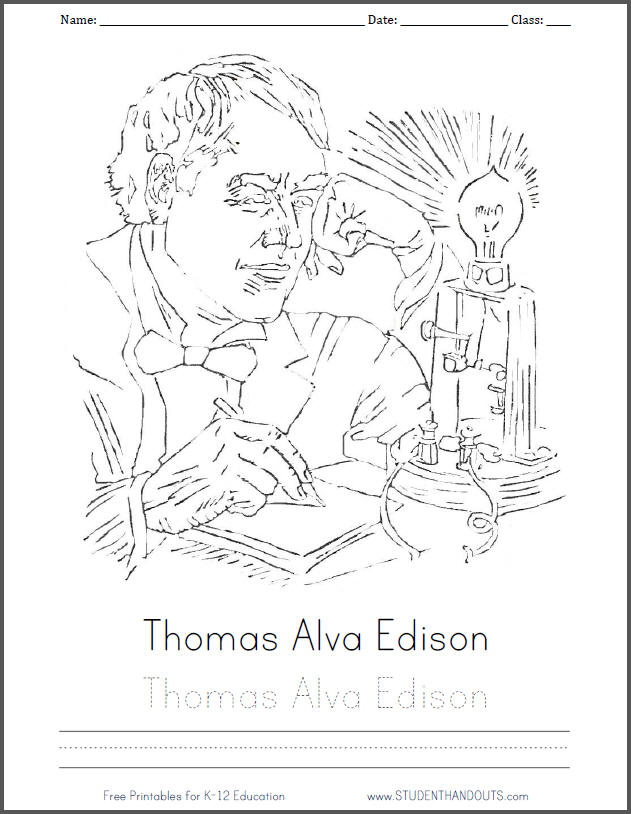 Thomas Alva Edison free printable coloring sheet for kids with handwriting practice.