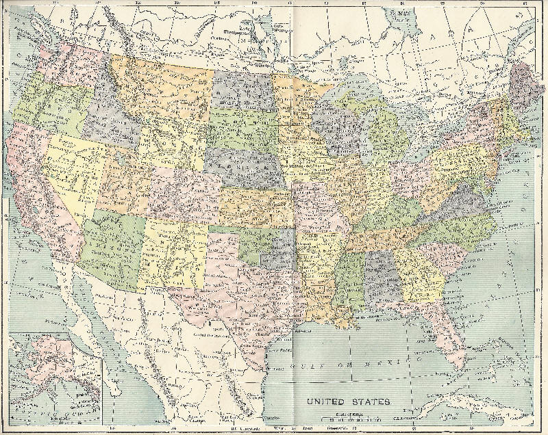 Map of the United States in 1896