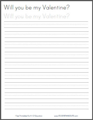 Free Printable Valentine's Day Handwriting Practice Worksheet for Kids - Print or Cursive