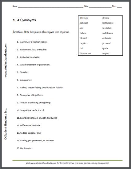 10.4 Synonyms Worksheet - Free to print (PDF file).