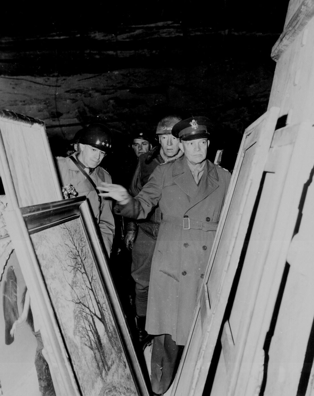 Eisenhower, Bradley, and Patton with Stolen Art