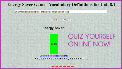 Energy Saver Game - Vocabulary Definitions for Unit 8.1