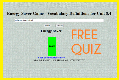 Energy Saver Game - Vocabulary Definitions for Unit 8.4