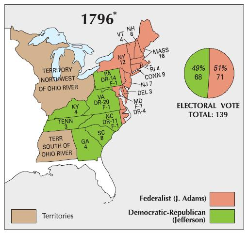 Presidential Election of 1796 Map Results