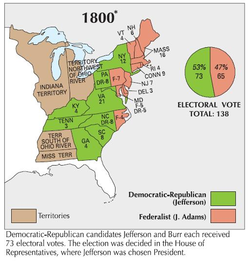 Map of the Presidential Election of 1800