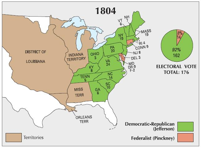 1804 Presidential Election Results Map and Pie Chart