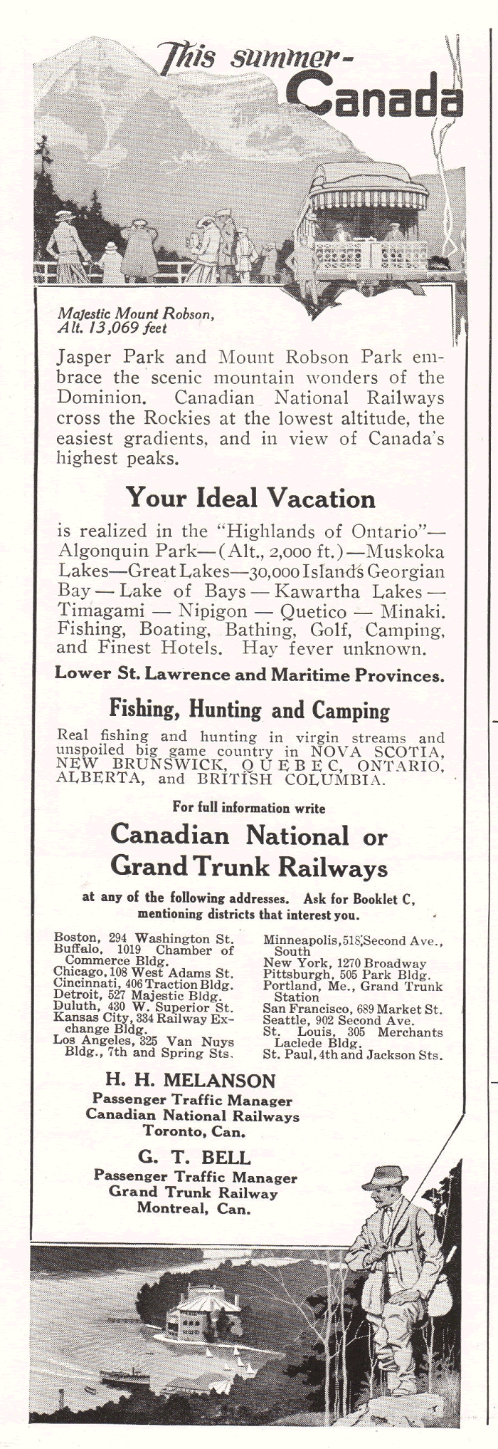 Canadian National and Grand Trunk Railways Advertisement from 1922