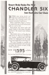 The Chandler Motor Car Company, Cleveland, Ohio, 1922.  Smart body styles put new Chandler Six into exclusive car class.  Buyers who know motor car values have welcomed in the new Chandler Six lasting style and assured mechanical supremacy.  Such a superlative degree of motor car aristocracy was never before available at a cost so low.  Everywhere the smart style and superb bodies of the latest Chandler proclaim it the season's most fashionable car.  The briefest ride in a Chandler Six will prove its inherent smoothness and comfort, qualities that will still further be emphasized by the rough roads and tough hills of the long tour.  The new Chandler is available in every model essential to the demands of utility, the caprice of taste, or the whim of pleasure.  Now $1595 (touring car).  The price that scraps previous motor car values.