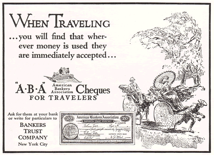 A.B.A. Cheques for Travelers, 1922