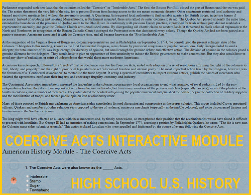 Coercive Acts Interactive Module for High School United States History Education