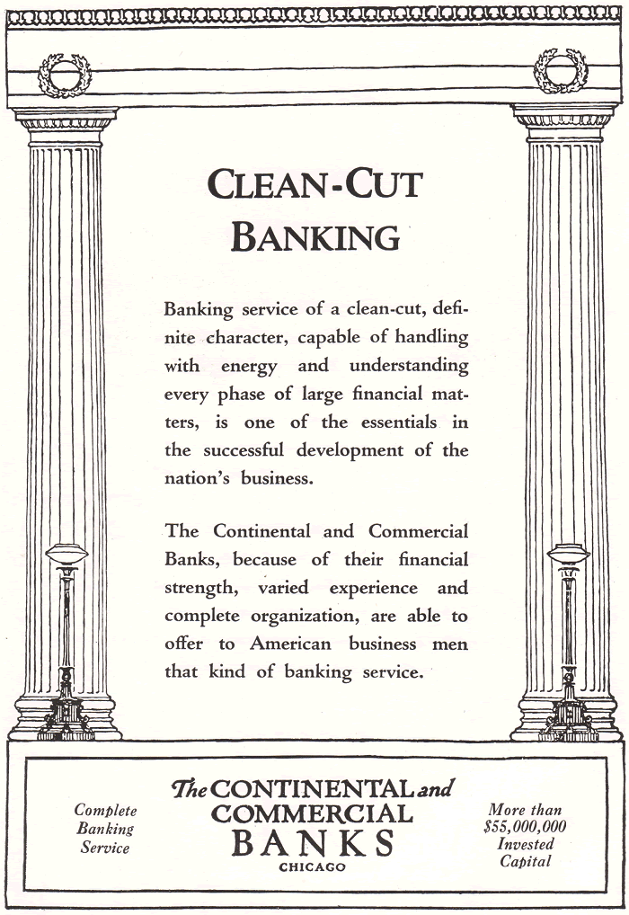 Continental and Commercial Banks of Chicago Antique Advertisement from the 1920s