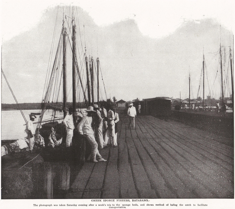GREEK SPONGE FISHERS, BATABANO, CUBA (1898)