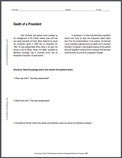 Death of a President - Free printable reading with questions (PDF file) for high school United States History classes.