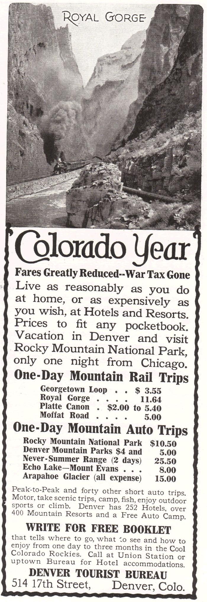 Denver Tourist Bureau Advertisement from 1922