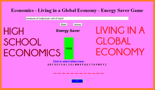 Economics - Living in a Global Economy - Energy Saver Game