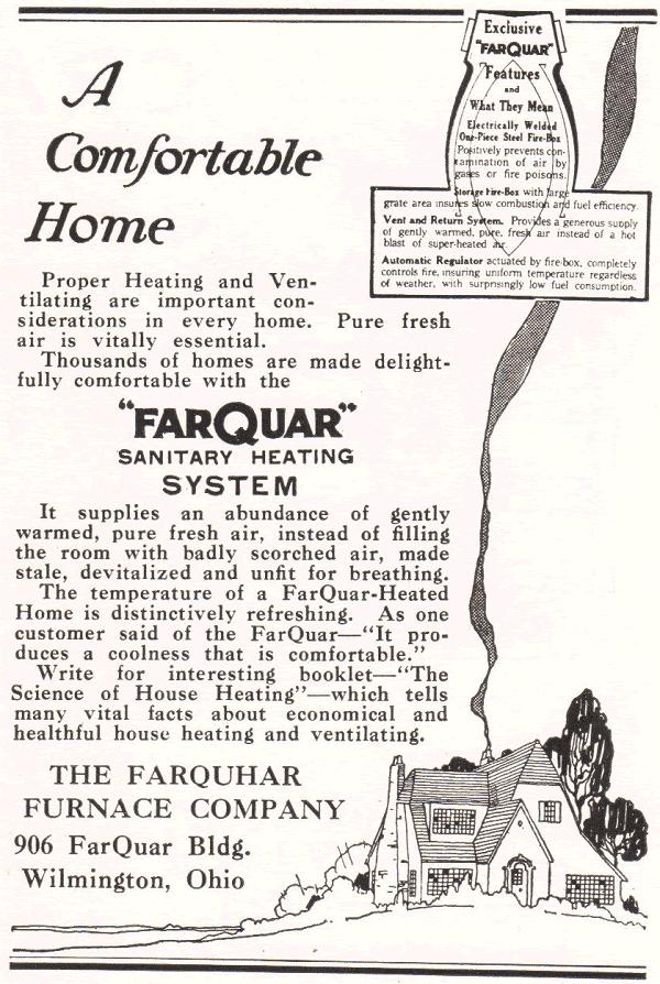 Farquhar Furnace Company, 906 FarQuar Building, Wilmington, Ohio