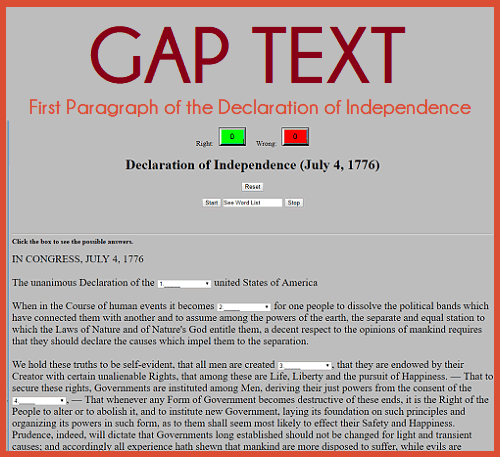 Interactive Gap Text Game for the First Paragraph of the Declaration of Independence (July 4, 1776) - Cloze text reading quiz is free to take online.