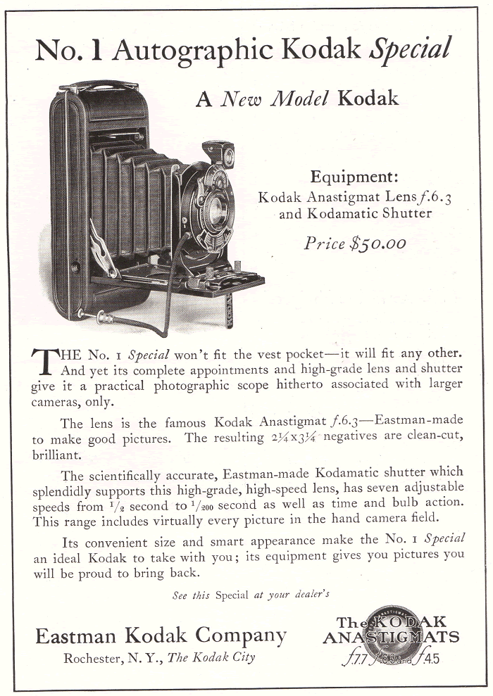 No. 1 Autographic Kodak Special Ad from 1922