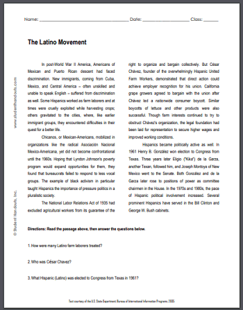 The Latino Movement - Free printable reading with questions (PDF file) for high school United States History education.