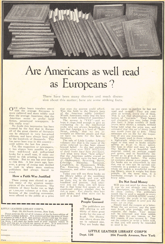 Little Leather Library Corporation Advertisement from 1922