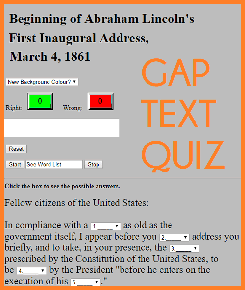 Abraham Lincoln's First Inaugural Address Gap Text Quiz Game