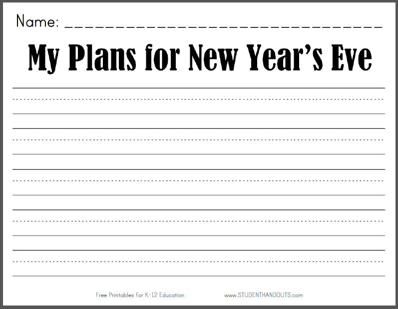 My Plans for New Year's Eve - Free printable lined K-3 writing prompt (PDF file).