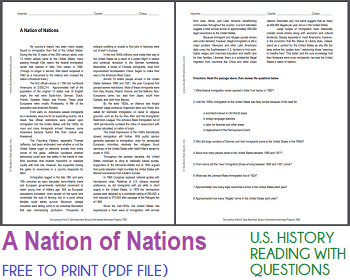 A Nation of Nations - Free printable reading with questions for high school United States History classes.