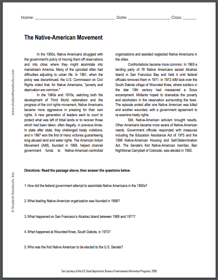 Native-American Movement - Reading with questions is free to print (PDF file) for high school United States History education.
