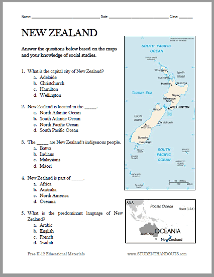 New Zealand Map Worksheet - Free to print (PDF file) for students of World Geography.