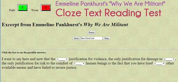 Emmeline Pankhurst's Why We Are Militant - Interactive Cloze Text Reading Test