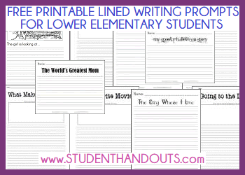 Free Printable Lined Writing Prompts for Students in the Primary Grades