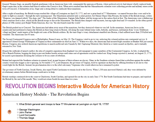American Revolution Begins - Interactive Module for High School United States History Education
