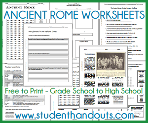 Ancient Rome Printable Worksheets - All are free to print (PDF files). For grade school through high school. Essay questions, word searches, time lines, DBQs, puzzles, and more.
